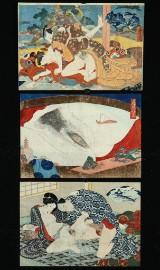 Utagawa Kuniyoshi. Tre japanske træsnit med shunga-motiver, ca. 1830 (3)