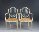 A pair of George III armchairs, England, c. 1790 (2)