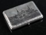 Russisk cigaretetui af sølv dekoreret med niello, Moskva