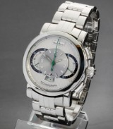 Paul Picot 'Technograph'. Men's chronograph, steel, with silver-coloured dial