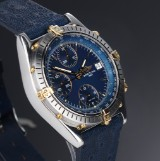 Breitling 'Chronomat' men's watch, 18 kt. gold and steel, blue dial, 1990's