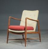 Finn Juhl. Lounge chair/fireplace chair in teak, wool, Model BO-59