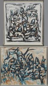 Ubekendt Kunstner, olie på lærred/plade, abstrakte kompositioner (2)