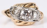 Vintage diamantring, 14 kt guld. Brillanter ca.1.00 ct