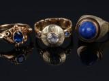 3 vintage ringe af 14 og 18 kt. guld. Vægt i alt ca. 16,4 g  (3)