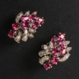 Øreclips med rubiner og diamanter i 8 kt. hvidguld (2)