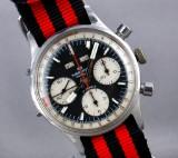 Wakmann Watch Co. 'Triple Date'. Vintage men's chronograph, steel, with black dial, 1970s