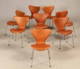 Arne Jacobsen. Eight Series 7 chairs, model 3107, cognac-brown aniline leather (8)