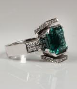 Artmetall Håkan Orrling. Zambia emerald and diamond ring