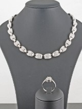 18kt Diamond necklace with matching diamond ring approx.12.83ct