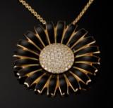 Georg Jensen. Marguerite diamond brooch/pendant, gold