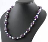 Polished amethyst , ball shape lapis lazulli  & fresh water pearl necklace