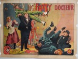 Vintage French film poster with 'Fatty' Arbuckle and Buster Keaton in 'Fatty Docteur' (France 1917, original USA 'Oh Doctor!' 1917)