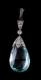 Aquamarine and diamond pendant, c. 1910