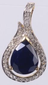 Safir- og diamant vedhæng