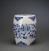 Tøndeformet taburet af porcelæn, 1900-tallet.