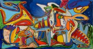 Niels Davernum, komposition - Dk, Næstved, Gl. Holstedvej - Niels Davernum (f. 1958). Komposition, akryl på lærred, sign. Davernum 19. H. 100 x 188 cm. Uden ramme. - Dk, Næstved, Gl. Holstedvej