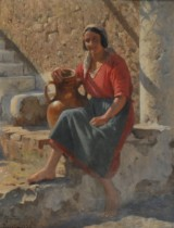 Peder Mønsted. Woman from Ravello, oil on canvas