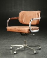 Office chair, cognac-coloured leather, c. 1970