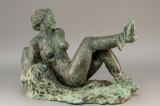 Gerhard Henning cd, reclining woman, sculpture, patinated bronze
