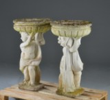 To store havevaser/skåle båret af englebørn, af kunststen (2)