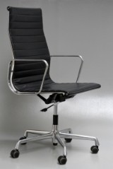 Charles Eames. Office chair, model EA-119. Black leather