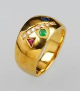 Ring med farvede sten og brillanter, guld 750/000
