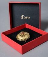 Broche, 18 kt. guld med smaragder, safirer og rubiner