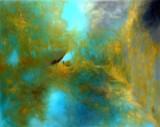 Abstrakt motiv, olja på duk, Golden Sky