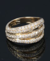 Brilliant-cut diamond ring, 18 kt. gold, total approx. 1.20 ct.
