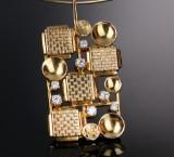 Pedersen & Klemmensen. Vintage neck ring and pendant, 14 kt. gold with brilliant-cut diamonds