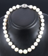 South Sea cultured pearl necklace, white saltwater cultured pearls with diamond clasp