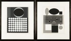 Victor Vasarely, to serigrafier, Laika og et værk uden titel fra serien Clarities, ca. 1970 (2) - De, Köln, Kunst- Und Auktionshaus Herr - Victor Vasarely (1906-1997), to serigrafier, 'Laika' og et værk uden titel fra serien 'Clarities', ca. 1970. Nummereret '101/250' nederst til venstre, signeret med blyant nederst til højre, indrammet bag glas me - De, Köln, Kunst- Und Auktionshaus Herr