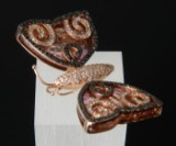 A pendant butterfly in 18 kt. rose gold with brilliant cut diamonds and tourmaline