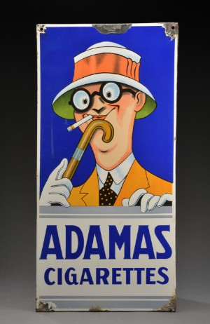 Adamas Cigarettes enamel sign, 'adamas cigarettes' | lauritz