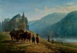 Julius Kornbeck. Alpelandskab, olie på plade