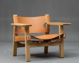 Børge Mogensen, The Spanish Chair, oak and harness leather