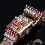 Blancpain. Vintage ladies watch, 14 kt. rosé gold with rubies and diamonds