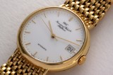 IWC 'Portofino'. Men's watch, 18 kt. gold with white enamel dial with date