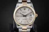Rolex Date men's watch, 18 kt. gold and steel, ref. 15053. c. 1987