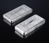 Metalor. Et par sølvbarrer à 1 kg, samlet 2 kg (2)