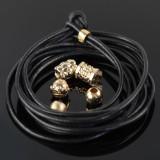 SPOIL armbånd i sort læder med 5 charms