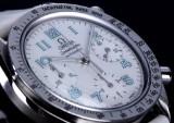 Large Omega 'Speedmaster' ladies' watch, steel, mother-of-pearl dial, c. 1998