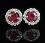 18kt diamant og rubin øreringe ca.. 0.32ct