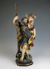 Figur des Heiligen Christophorus auf Sockel vom Bildhauer Herbert Prinoth, Südtirol (2)