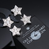 Ole Lynggaard. A pair of 'Stars' diamond ear studs with pendant in 18 kt. white gold