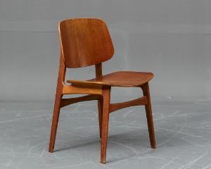 skalstol Børge Mogensen. 'Skalstol' model 155 stel af teak  og bøgetræ  skalstol