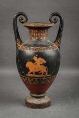 Vase af støbejern med hanke i græsk stil
