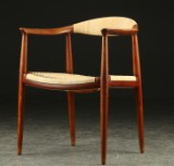 Hans J. Wegner. Armchair in teak 'The chair', Johannes Hansen