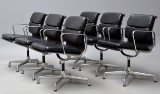 Charles Eames. A set of six armchairs, model EÁ 208 'Full Leather' (6)